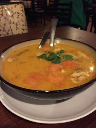 Denton, TX: Tom Yum soup with chicken Fried Thai dumplings Green Curry Spicy Basil Fried Rice with shrimp