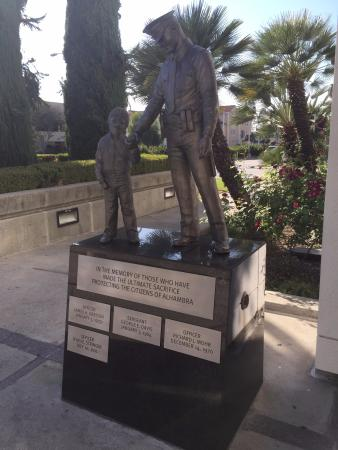 statue in front of the Alhambra police department