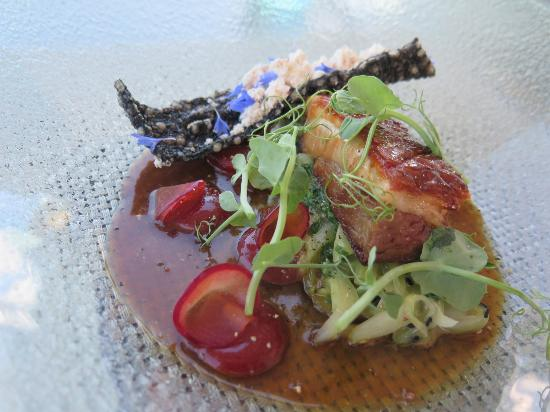 Te Awanga, New Zealand: Pork belly with spicy plums and inked crackling