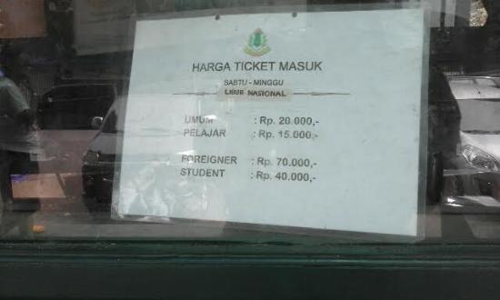 Cirebon, Indonesia: Tarif tiket masuk Keraton Kasepuhan