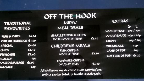 Hoppy 39 s off the hook fish chips castleford restaurant for Fish and hooks menu