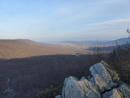 Kempton, PA: The view from Bald Lookout. Small white patch in valley is a boulder field.