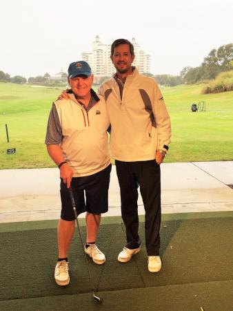 Reunion, FL: Mark and me on the range. Nice to have the indoor hitting area as we had a little rain.