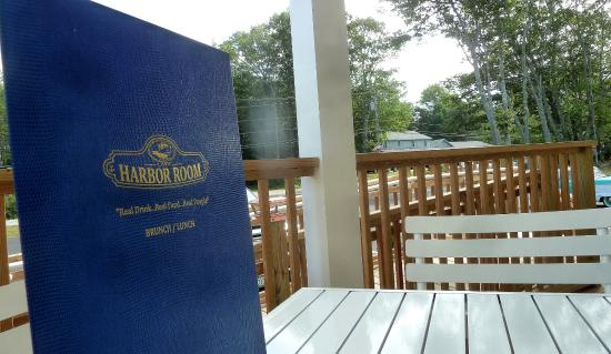 New Harbor, ME: Overlooking the Harbor Room's beautiful front porch, where outdoor dining is quite pleasant.