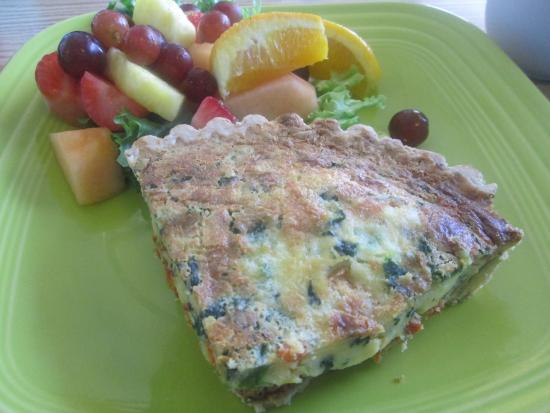 Simply Delicious Cafe & Bakery: QUICHE WITH TOMATO, SPINACH AND PARMESAN CHEESE