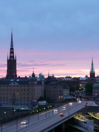 Hilton Stockholm Slussen: Views from the room and one looking down on hotel from observation tower