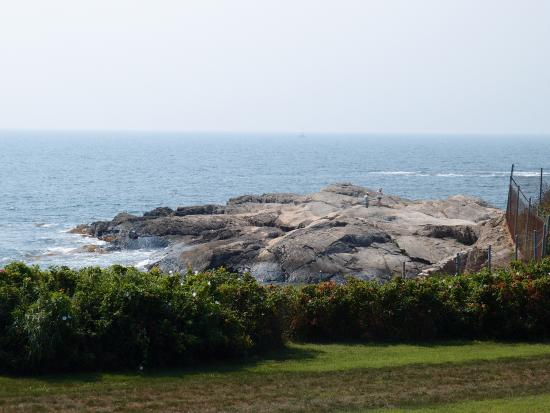 View of Cliff Walk, from Rough Point's lawns