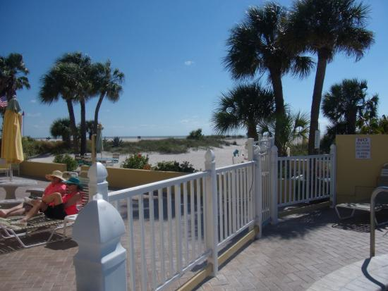 Suncoast Motel: View of the beach from the pool area