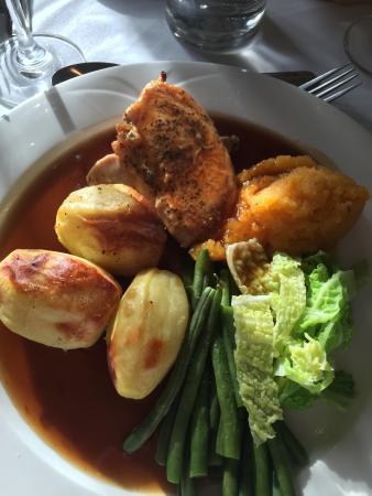 Burley, UK: Sunday roast chicken breast very moist and full on flavour.
