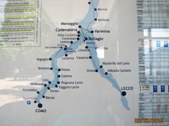 Mapa Lago Di Como.Mapa Del Recorrido Picture Of Navigazione Laghi Lago Di