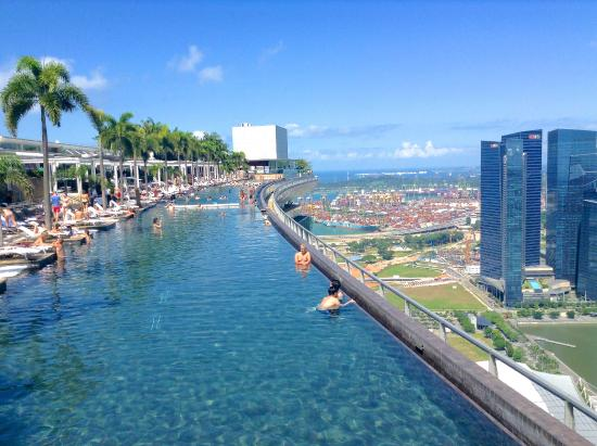 Infinity pool from the kudeta bar picture of marina bay sands singapore tripadvisor - Marina bay singapore pool ...