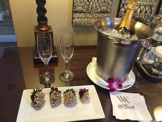 The Roosevelt New Orleans, A Waldorf Astoria Hotel: The Hotel had this waiting for us in our room!