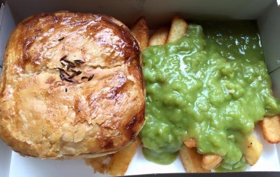Square Pie Company - Spitalfields: Jalfrezi Pie,chips and mushy peas