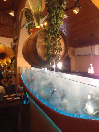 Rehoboth, MA: One of the most beautiful parts of the restaurant is the water cascade.