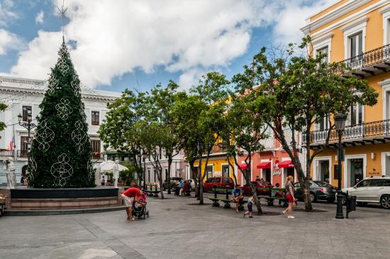 Plaza de Armas : Plaza Fountain Converted to Christmas Tree Stand