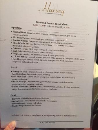 Harvey : buffet brunch menu 1
