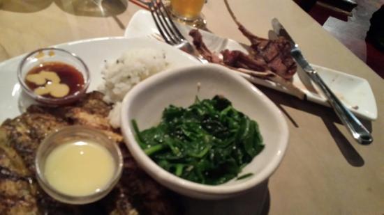 Glen Burnie, Μέριλαντ: Rainbow trout, spinach, and jasmine rice.