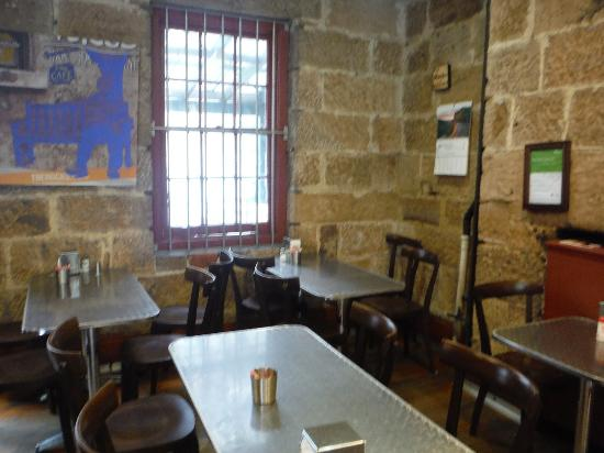 G'Day Cafe: Seating inside what look like it used to be a prison.