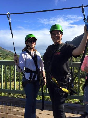Kaneohe, Hawaje: Zip line adventures (I think this was around our 3rd track of 7)