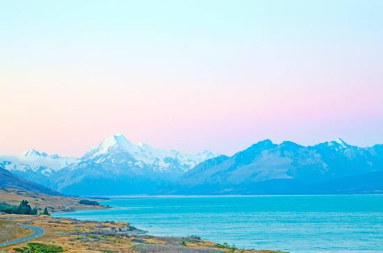 Canterbury Region, New Zealand: Lake Pukaki at sunset