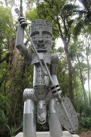 Palmerston North, New Zealand: The Whatonga sculpture at the top, halfway point of the Tawa Loop Track.