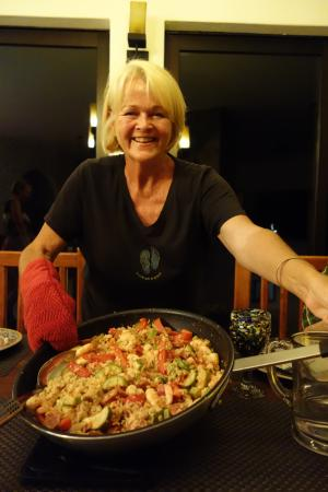 "Arriba de la Roca: Shelby's paella masterpiece! This is ""appetizer."""