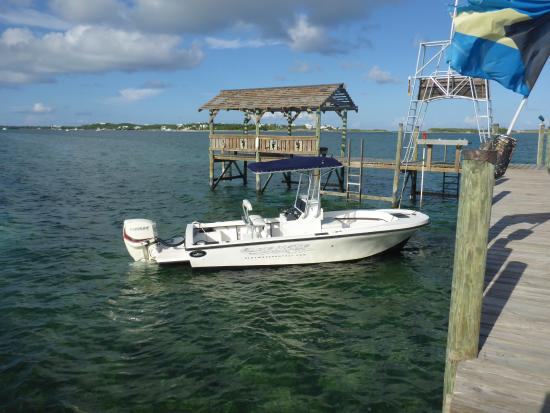 Lubbers Quarters: Boat docked at Lubbers Landing, essential part of the holiday!