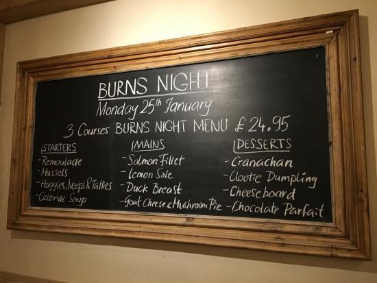 Hertford, UK: Burns Night Menu