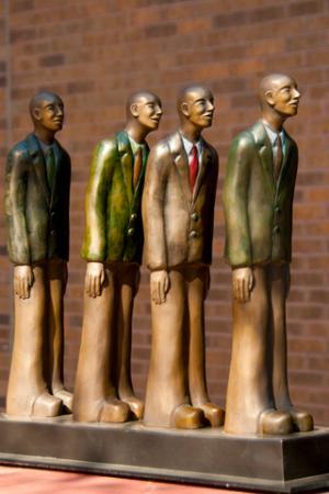 """SculptureWalk Sioux Falls: 'Queued Up"""" Kate Christopher sculptor"""