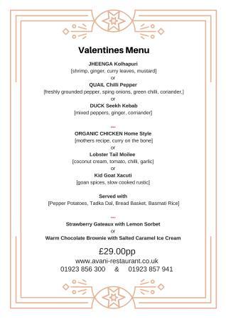 Radlett, UK : Valentine's Menu