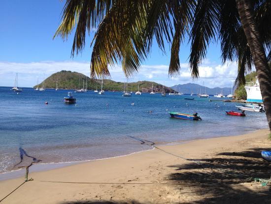 Terre-de-Haut, Guadeloupe: La vue magnifique sur la baie des Saintes de la table du restaurant !