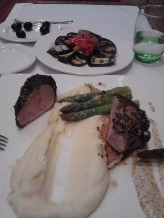 Radisson Blu Hotel, Kyiv: Pork fillet with black pepper crust, mustard sauce served with butter aspara - gus and mash pota