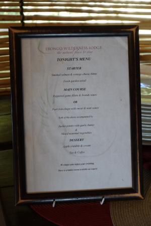 Erongo Wilderness Lodge: Speisekarte