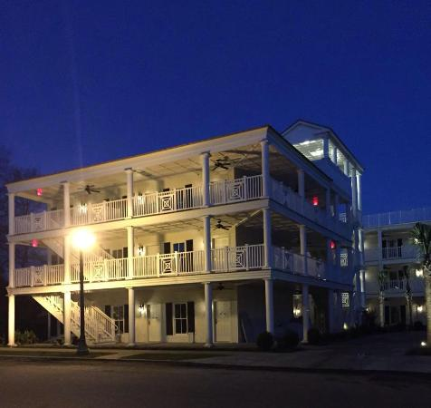 Aiken, SC: Night view of new Pendleton Guesthouse from Pendleton Street