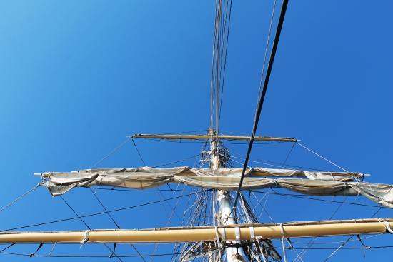 Fremantle, Australia: Sails on the main mast of the STS Leeuwin II