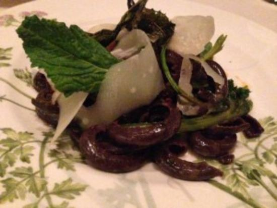 Concord, MA: Bondir cocoa casarecce (chocolate pasta ) with shaved asiago & broccoli rabesurprisingly delicio