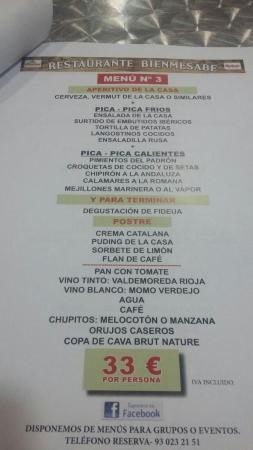 Viladecans, Espagne : Menús para grupos