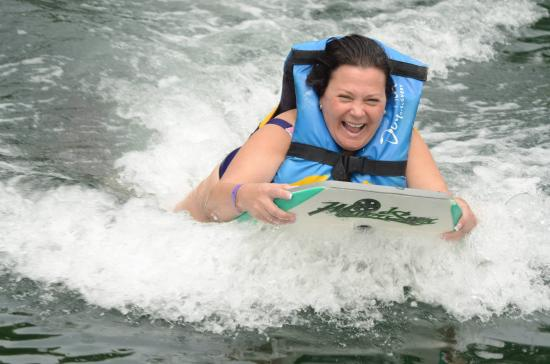 Road Town, Tortola: push on boogie board by dolphin