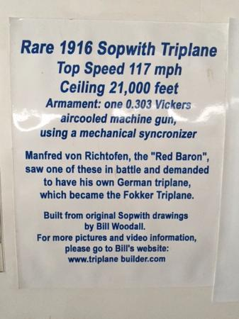 "North Canton, OH: Triplane details. Interesting comment on the ""Red Baron"""
