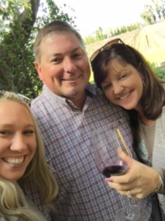 Hopper Creek Winery: my sister in law, our tasting expert Jason and I outside Hopper Creek