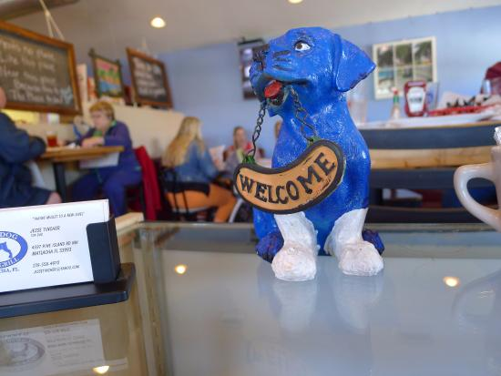 Matlacha, Floride : Blue dog dining room by street.