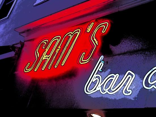 Sam's Restaurant: Neon Sign for Sam's Pizza on Newton in East Hampton