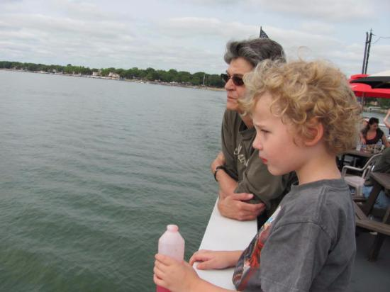 Clear Lake, IA: Our grandson with his MiMi on his first voyage.