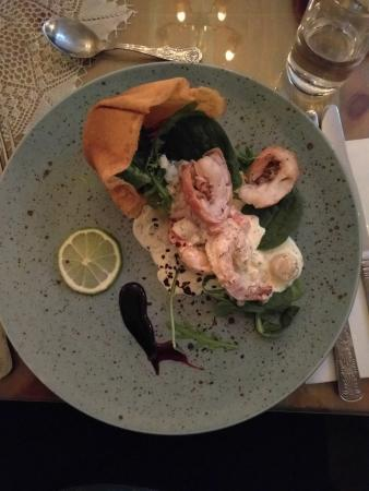 Grundarfjorour, Islandia: Delicious prawn and scallop starter