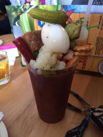Mountain, WI: 16 oz Bloody Mary with the works ! It was terrific. Will stop again just for one of these !