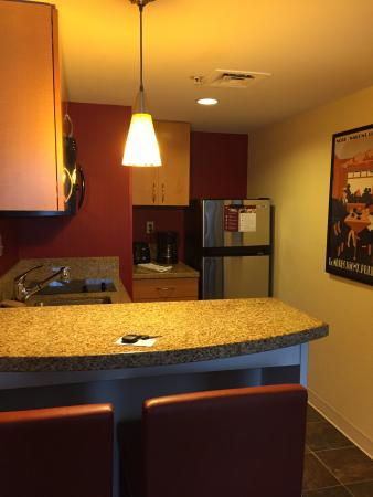 Residence Inn Boston Westborough : kitchen area-two burner cooktop, sink, fridge, micro