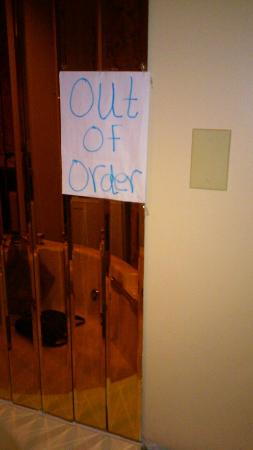 Absecon, NJ: Jacuzzi not working, and this is the sign taped to the mirror.