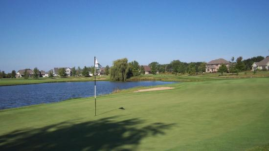 Sheboygan Falls, WI: The par-3 third hole tests your nerve at The Bull at Pinehurst Farms