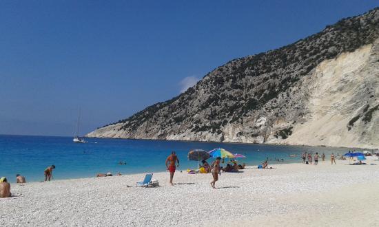 Myrtos Beach: on the beach