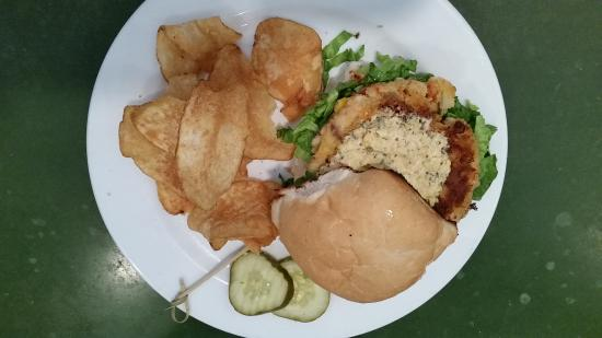 Tipp City, OH: Crab Cake Sandwich and Overly Salty Chips.